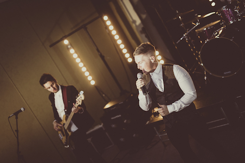 Audio Sugar performing for guests as part of wedding entertainment package at Rosedew Farm, Llantwit Major