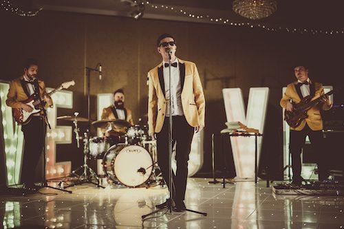 Wedding band musicians 24K at a Welsh wedding
