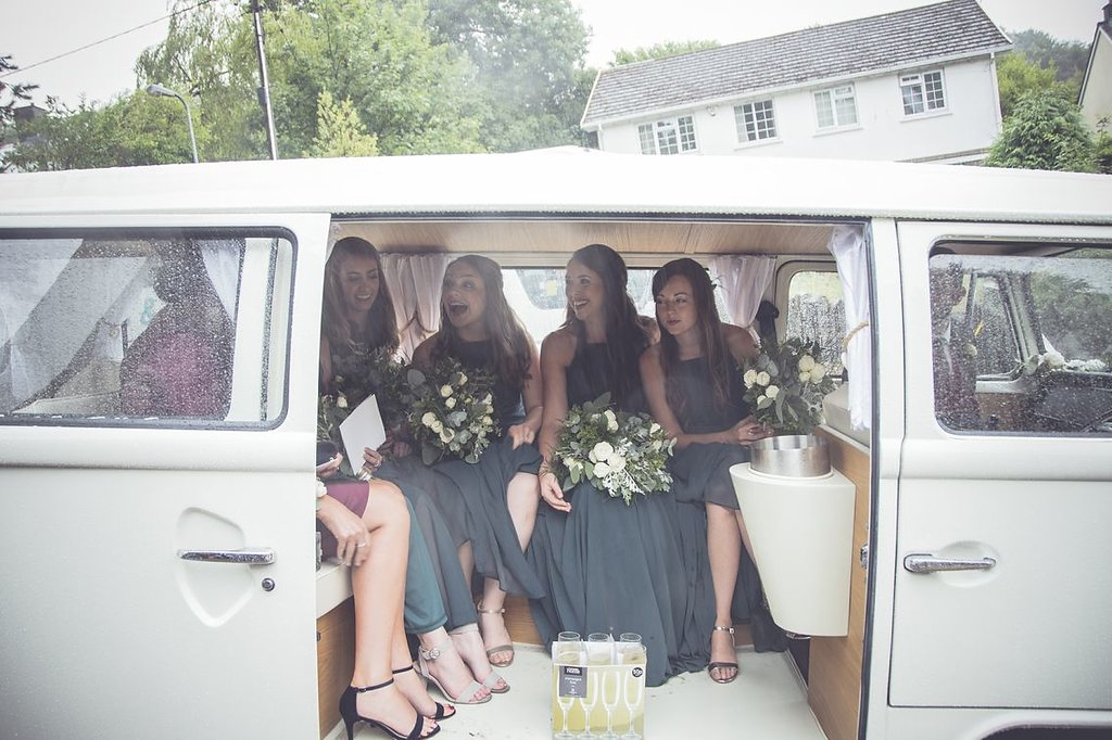 Bridesmaid in volkswagon at South Wales wedding