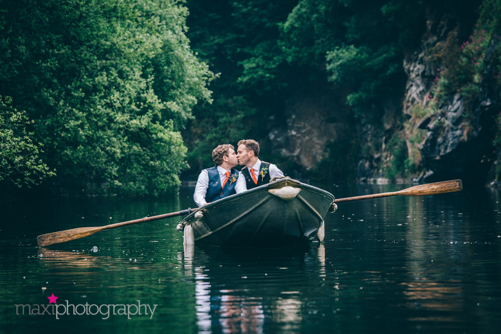 Newlyweds in boat